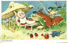 SIGNIERT- Fritz Baumgarten -Unterm Pilz: Zwerg,Eichhörnchen,Frosch,Vogel - 1938