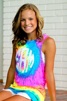 Monogram Tie Dye Tank Top – Rainbow Shirt