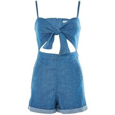 TopShop Moto Bow Front Playsuit ($70) ❤ liked on Polyvore featuring jumpsuits, rompers, topshop, mid stone, topshop romper, blue romper, summer romper, topshop rompers and summer rompers