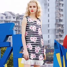 Elf Sack 2016 summer female striped organza printed sleeveless A-line female's dress  elfsack