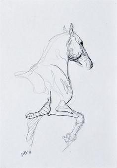 Trotting Horse Sketch by benedictegele on Etsy
