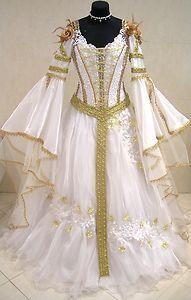 white medevil wedding dress | White and Gold Medieval Wedding Dress | Wedding Gowns