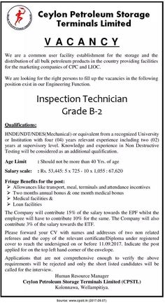 Inspection Technician at Ceylon Petroleum Storage Terminals Limited | CareerFirst