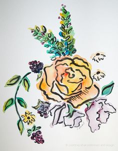 """Yellow Rose with Blackberries and Wildflowers- 8""""x10"""" original watercolor painting"""