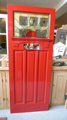 ~ Stained Glass Front Door with Classic Sunburst Design. I would paint the door a different color but it is stunning. Glass Wall Art, Stained Glass Door, Doors, Red Front Door, Glass Decor, Porch Styles, Stained Glass, Painted Front Doors, Glass Door