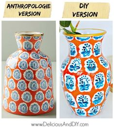 Anthropologie knock off beautiful DIY Painted Vase using only paints and a vase from the Dollar Store or Thrift Store! Easy Painted look perfect for your home decor and for less than half the price of the original Vase