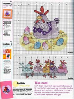Cross-stitch Chickens, part 1... color chart on part 2...   HUNDREDS of free charts on this site