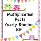 Yearly Starter Kit - This package includes a student multiplication facts study record, teacher quick check progress tracker, teacher individual student progress tracker, 9 multiplication mini-posters for the bulletin board, etc...student multiplication facts mastery punch cards, multiplication facts handout, multiplication facts handout that shows how few facts will need to be learned if a student keeps up with the fact families each week, and timed tests through the 12's fact family. $