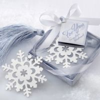 Silver Bookmark Snowflake Wedding Favors with Tassel