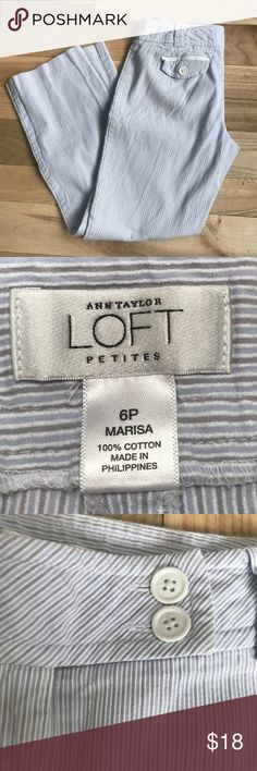 Ann Taylor LOFT Marisa cropped striped pants EUC pants with cute bottons and pocket lining! Size 6p. Wear with pants rolled up with a blazer or rock a tshirt for a more casual looks. These pants wash up nicely and don't wrinkle easily. See detailed striping! Ann Taylor Pants Ankle & Cropped