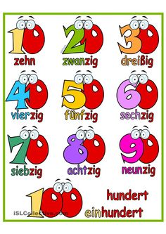 Lernposter 10er-Zahlen bis 100 German Language Learning, Learn German, Language Activities, Classroom Displays, Numeracy, Teaching Materials, Kids Learning, Kindergarten, Germany