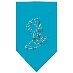 Boot Rhinestone Bandana Turquoise Small