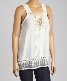 Ivory Lace Tank - Plus by Simply Irresistible #zulily