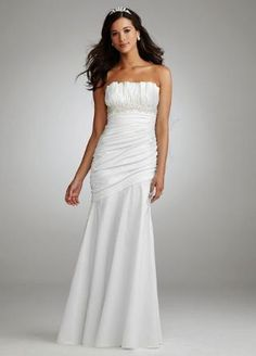 Ruched Strapless Gown with Draped Bodice and Skirt - David's Bridal- mobile