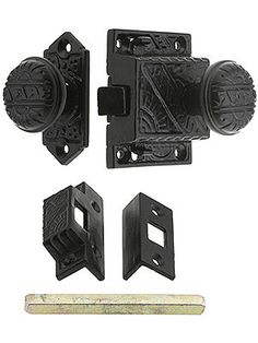 "Screen Door latch. Exterior backplate - 2 1/4"" H x 1 1/16"" W. Interior lock body - 2 1/4"" H x 1 7/8"" W. Knobs - 1 1/4"" diameter x 1 3/4"" projection (including lock body)."