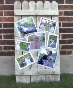 DIY- Wood Fence Panel Photo Frame Display with knobs~ (This was used at a wedding to display pics for the bride and groom at their wedding. It could also be displayed with family pictures, at an anniversary party, birthday, shower or graduation party too!) crafty2thecore.com