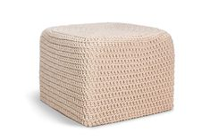 Chunky Cotton Square Ottoman Square Ottoman, Baseboards, Occasional Chairs, Fabric Covered, Outdoor Furniture, Outdoor Decor, Hand Crochet, Bright Pink, Sale Items