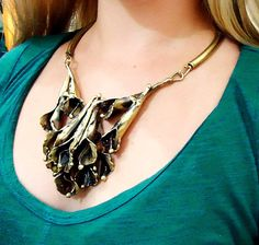 Necklace handmade in brass with tulip shaped by CRISDONATI on Etsy