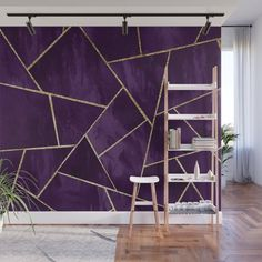 Dark Purple Ink Gold Geometric Glam Wall Mural by anitabellajantz Dark Purple Rooms, Purple Bedroom Walls, Purple Wall Paint, Gold Painted Walls, Purple Bedrooms, Bedroom Wall Colors, Gold Bedroom, Gold Walls, Geometric Wall Paint
