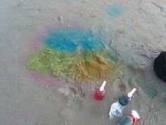 colourful beach fun, i always do spray art in the winter on snow, never once thought to try it on white sandy beaches! Activities For Kids, Crafts For Kids, Beach Activities, Beach Toys, Beach Ready, Beach Fun, Some Fun, Stuff To Do, Fun Stuff
