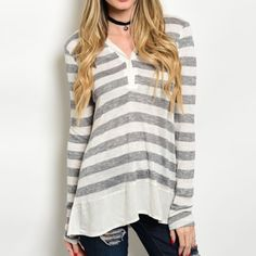 COMING SOON! Striped tunic tee size large Super cute grey/white tunic top. Bottom is hemmed with chiffon material. Looks amazing with your best pair of distressed skinnies! Tops Tunics