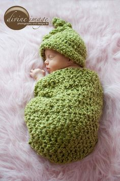 Pea in a Pod Cocoon and matching   Beanie by PreciousMomentsProps, $36.00