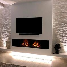 Electric Fireplace: Know the Advantages and Disadvantages Models … Fireplace Modern Design, Luxury Living Room, Feature Wall Living Room, Home Fireplace, Fireplace Tv Wall, Living Room Decor Fireplace, Living Room Decor Modern, Modern Fireplace, Living Room Design Modern