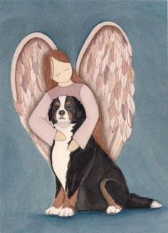 Bernese Mountain Dog with Angel / Lynch signed by watercolorqueen