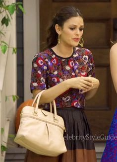Seen on Celebrity Style Guide: Rachel Bilson wore a Marc by Marc Jacobs Floral Blouse and a Joie Lusila Leather Skirt on Hart of Dixie epi 3.04 �Help Me Make It Through The Night�