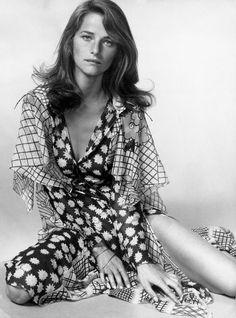 1970s, Charlotte Rampling in an Ossie Clark frock
