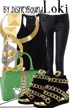 Loki by Disney Bound. Fashion Disney Outfit. Marvel...<3 everything but the earrings and the shoes