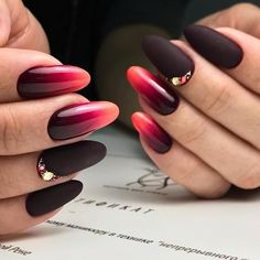 What color manicure fall 2018 trends photo ideas. Neon Gas, Nailart, Gradient Nails, Acrylic Nails, Red Manicure, Autumn Nails, Halloween Nails, My Nails, Nail Designs