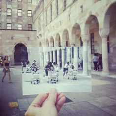 Monday memories - Then and Now, a trolly race in The Great Court at the University of Queensland