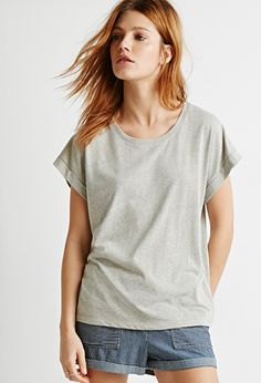 Cuffed-Sleeve Heathered Tee | Forever 21 - 2000079308
