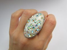 Extremely Shini Pearl White Oval Lagre Crystal and Polymer Clay Ring. Statement Polymer Clay Ring Polymer Clay Jewelry