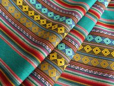 Aztec Fabric, Andean Fabric, Peruvian Fabric - Woven Textile by the Yard.   Bright Blue Stripes
