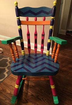 Herman Miller Aeron Chair Size C Teacher Rocking Chairs, Painted Teacher Chair, Teacher Chairs, Painted Rocking Chairs, Hand Painted Chairs, Painted Stools, Rocking Chair Porch, Painted Tables, Whimsical Painted Furniture