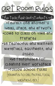 Good general art class rules and behavior expectations Art Classroom Decor, Art Classroom Management, Classroom Posters, Class Management, Classroom Organization, Classroom Ideas, Art Class Rules, Art Room Rules, Art Rules