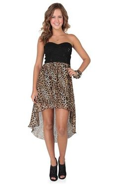 Deb Shops strapless sequin lace bodice cheetah chiffon high low $39.90