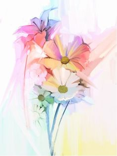 Picture of Still life of white color flowers with soft pink and purple. Oil Painting Soft colorful Bouquet of daisy, lily and gerbera flower. stock photo, images and stock photography. Beautiful Flowers Pictures, Flower Pictures, Psychedelic Effects, Gerbera Flower, Pastel Bouquet, Bridal Shower Cards, Spring Pictures, Painting Still Life, Spring Art