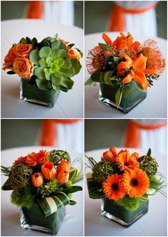Floral arrangement - Grouped orange gerberas, tiger lillies, tulips, roses and pin cushions, Great for an orange themed wedding or event Orange Wedding Centerpieces, Floral Centerpieces, Floral Arrangements, Wedding Orange, Orange Weddings, Square Vase Centerpieces, Succulent Arrangements, Succulents, Ikebana