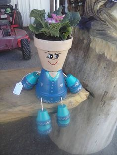 This a super cute 4 inch pot boy. Hand painted and sealed. Can be used inside or out. Arms and legs are 1 1/2 inch pots. Plant not included.