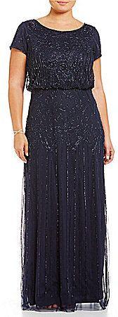 "Adrianna Papell Plus Beaded Blouson Gown, blau, blue, Plus Size Dresses #plussize #dresses #dress #kleider #kleid #fashion #mode #lifestyle #trendy - ""Grössere Grössen"". Atemberaubende Abendkleider. Amazing dresses for the evening, for cocktail partys..."