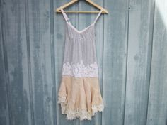 Tattered Tea Stained Tank Top Dress // Upcycled Romantic Bohemian T Shirt Dress //  Eco Shabby Chic Sleeveless Dress // Small // Ranch Lake