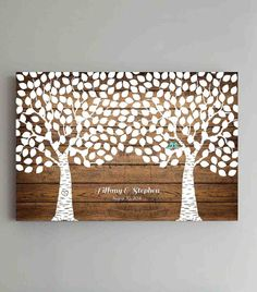 250 Guest Wedding Guest Book Wood Two Double Tree by ThePrintCafe