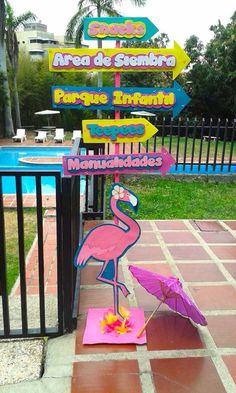 Directional Sign from a Flamingo Garden Party via Kara's Party Ideas - KarasPartyIdeas.com (12)