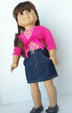 Fullfeature Denim Skirt for American Girl by BrambleberryCottage, $15.75