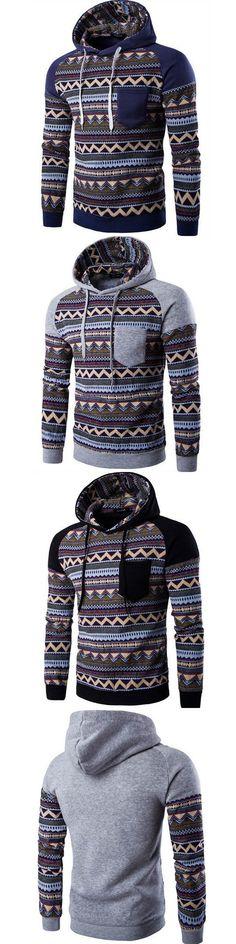 94260f0a7de 2017 New Men s Sportswear Hoodies Stripe Printed Ethnic Style Sweatshirts  Men Casual Stitch Raglan Sleeve Hooded Jacket Sudadera