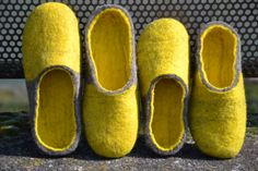 Couple of Sunny Yellow Grey Slippers Spring Gift by UrsulaShop, $130.00