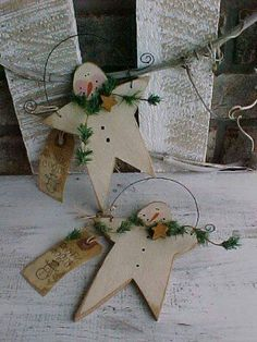 never too soon to start on Christmas decorations Christmas Ornaments To Make, Primitive Christmas, Christmas Snowman, Rustic Christmas, Winter Christmas, Handmade Christmas, Christmas Holidays, Christmas Decorations, Star Ornament